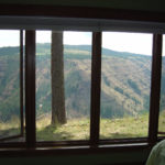 wood-framed picture windows