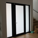 exterior door with frosted glass
